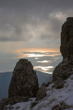 Winter evening in Crimea Mountains Stock Images