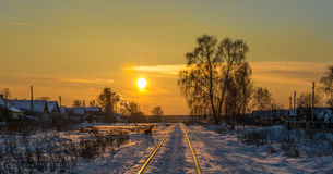 Winter evening. Frosty winter night in clear weather stock image