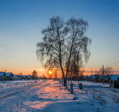 Winter evening. Frosty winter night in clear weather stock images