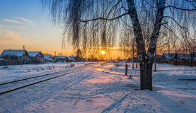 Winter evening. Frosty winter night in clear weather royalty free stock photo