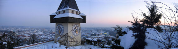 Winter evening in Graz. Sunset on Schloßberg Royalty Free Stock Photography
