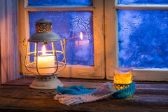 Winter evening only with hot tea Royalty Free Stock Photo