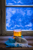 Winter evening and hot tea Stock Images