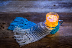 Winter evening and hot tea Royalty Free Stock Image