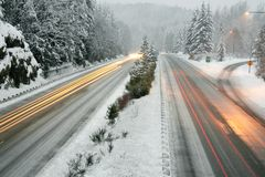 Winter evening on the Interstate Stock Images