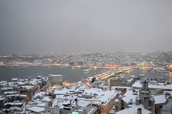 Winter evening in Istanbul, Turkey royalty free stock image