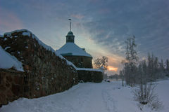 Winter evening at Karel fortress in Priozersk, Leningrad region Stock Photography