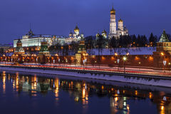 The winter evening Moscow, the Kremlin and its reflection in the river Royalty Free Stock Photography