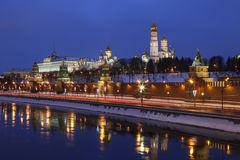 The winter evening Moscow, the Kremlin and its reflection in the river Stock Photography