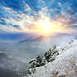 Winter evening in mountains Stock Photography