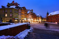 Winter Evening in the Old Town of Warsaw stock photos