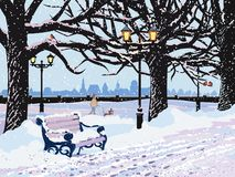 Winter evening in the park royalty free illustration