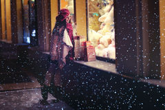 Winter evening portrait of a young girl Stock Photography