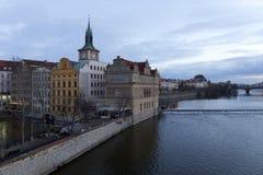 Winter evening Prague City above River Vltava from Charles Bridge, Czech Republic Royalty Free Stock Photography