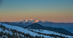 Winter evening scene in Carpathian Mountains Royalty Free Stock Image