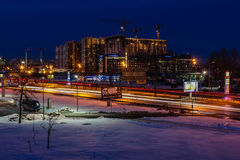 Winter evening in St. Petersburg on aging Royalty Free Stock Photos