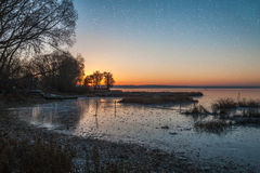 Winter evening with stars Royalty Free Stock Photography