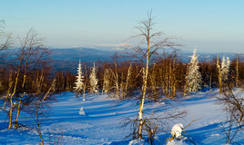 Winter evening in the Ural mountains Stock Photography