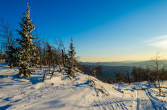 Winter evening in the Ural mountains Royalty Free Stock Photo