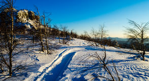 Winter evening in the Ural mountains Stock Images