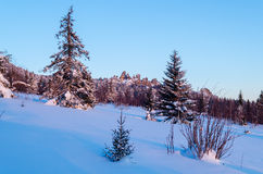 Winter evening in the Ural mountains Royalty Free Stock Images