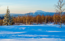 Winter evening in the Ural mountains Stock Photo