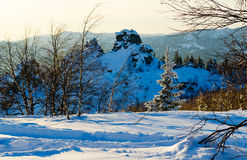 Winter evening in the Ural mountains Royalty Free Stock Image