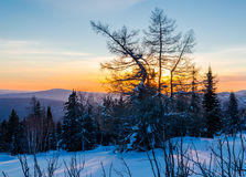 Winter evening in the Ural mountains Royalty Free Stock Photography