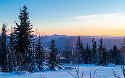 Winter evening in the Ural mountains Stock Image