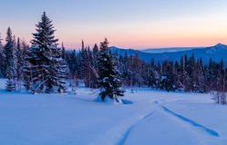 Winter evening in the Ural mountains. Stock Images
