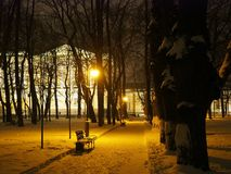 Winter evening urban landscape royalty free stock photography