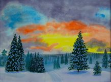 Winter evening watercolor painting stock photography