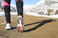 Winter exercise and run concept stock photography