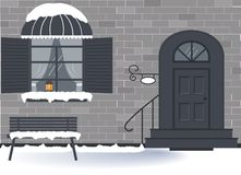 Winter exterior door of the house and a window with an old lamp with a candle and transparent curtains vector illustration