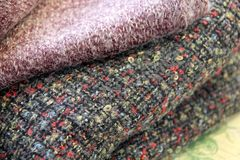 Winter fabrics. Knit and boucle Royalty Free Stock Image