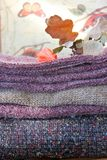 Winter fabrics. Knit and boucle Stock Photos