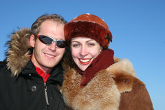 Winter faces couple royalty free stock photo