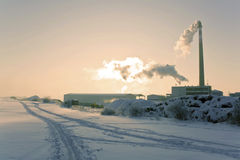 Winter factory Royalty Free Stock Photography