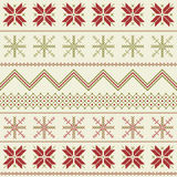 Winter fair isle pattern. Geometrical red and green Nordic pattern Stock Photos