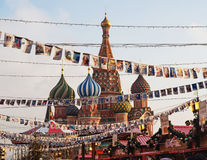 Winter Fair in the Red Square, Moscow, Russia Royalty Free Stock Images