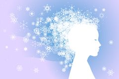Winter fairy. Fairy winter woman with snowflakes for hair Royalty Free Stock Photography