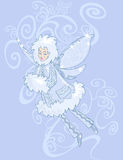 Winter fairy. Illustration of a winter magic fairy on the background of icy patterns Stock Image