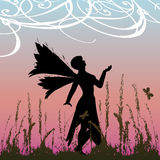 Winter Fairy Background. Background illustration with a fairy amongst winter grass Stock Image