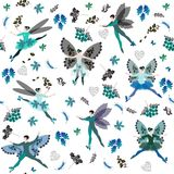 Winter fairy ballet. Seamless pattern with beautiful winged dancers, flowers, and leaves in cold tones.  Stock Photos