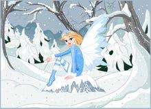 Winter Fairy. Beautiful winter fairy sitting on ice rock Stock Photos