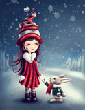 Winter fairy girl. Illustration with little winter fairy girl with a hare Royalty Free Stock Photos