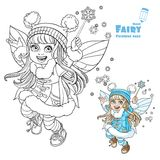 Winter fairy girl with a Magic wand color and outlined Stock Images