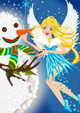 Winter Fairy. Making a snowman illustration Royalty Free Stock Photo
