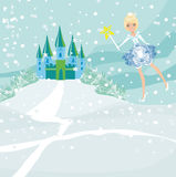 Winter fairy. Near the castle,  illustration Royalty Free Stock Photography