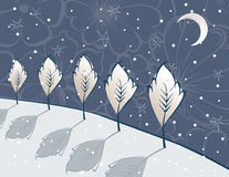 Winter fairy night. Vector image of the christmas moonlit night Stock Images